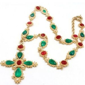 Green & Red Maltese Cross Statement Necklace!
